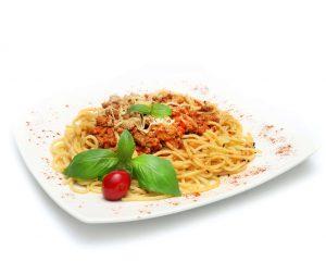 Obiad w pracy spaghetti